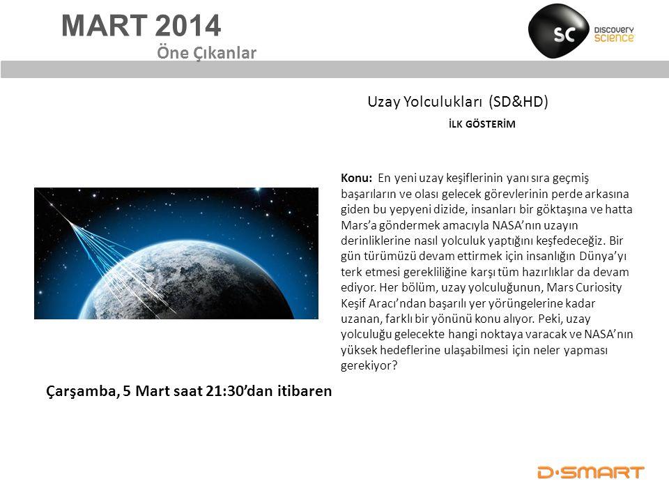 MART 2014 Öne Çıkanlar Konu: En yeni uzay keşiflerinin yanı sıra geçmiş başarıların ve olası gelecek görevlerinin perde arkasına giden bu yepyeni dizi