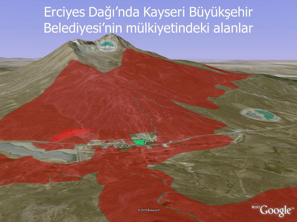 Erciyes Dağı'nda Kayseri Büyükşehir Belediyesi'nin mülkiyetindeki alanlar