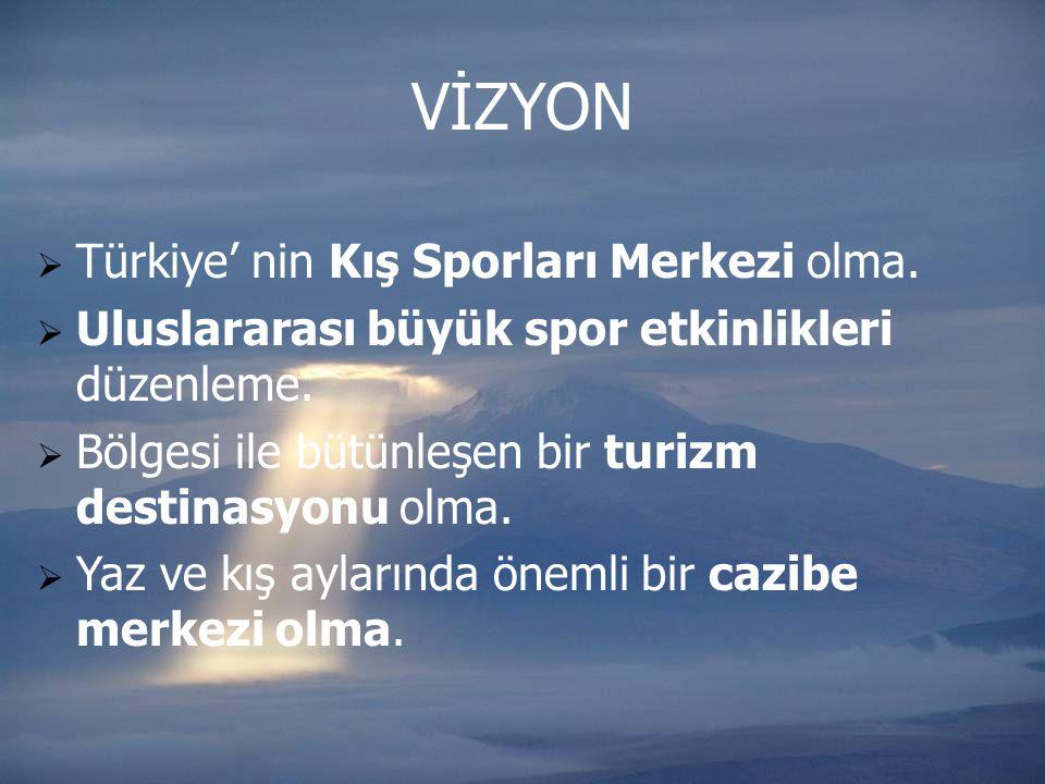  Türkiye' nin Kış Sporları Merkezi olma.  Uluslararası büyük spor etkinlikleri düzenleme.  Bölgesi ile bütünleşen bir turizm destinasyonu olma.  Y