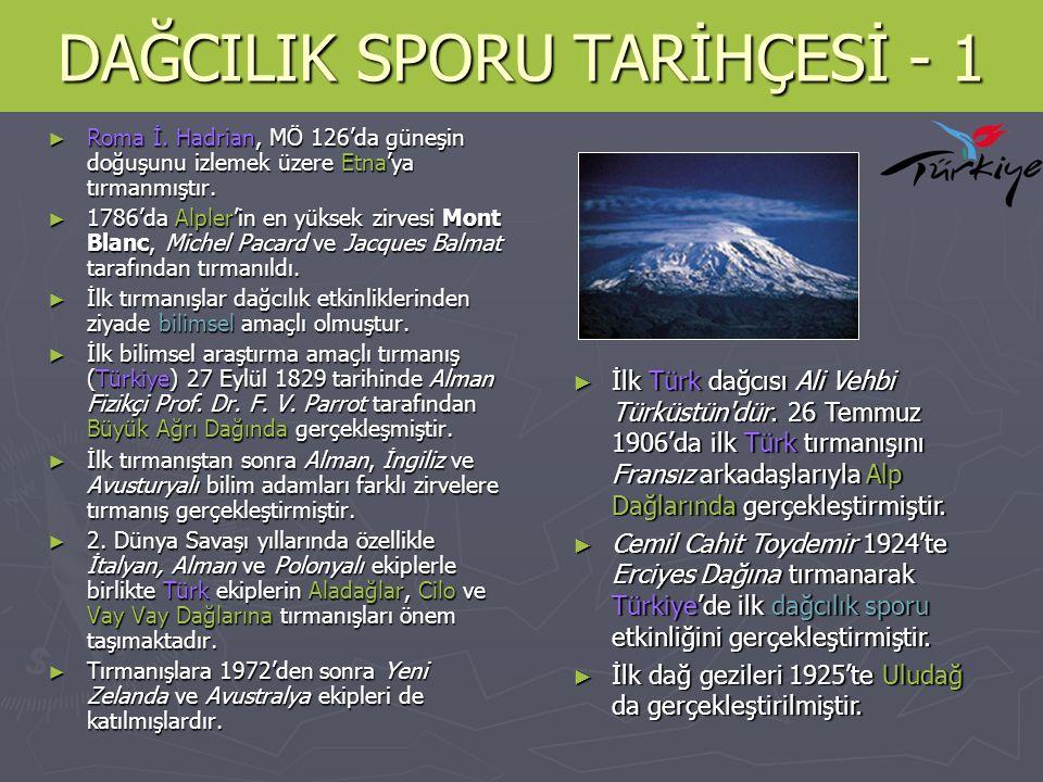 DAĞCILIK SPORU TARİHÇESİ - 2 ► Türkiye'deki ilk dağcılık örgütlenmesi 1928'de Türk Dağcılık Cemiyeti olmuştur.