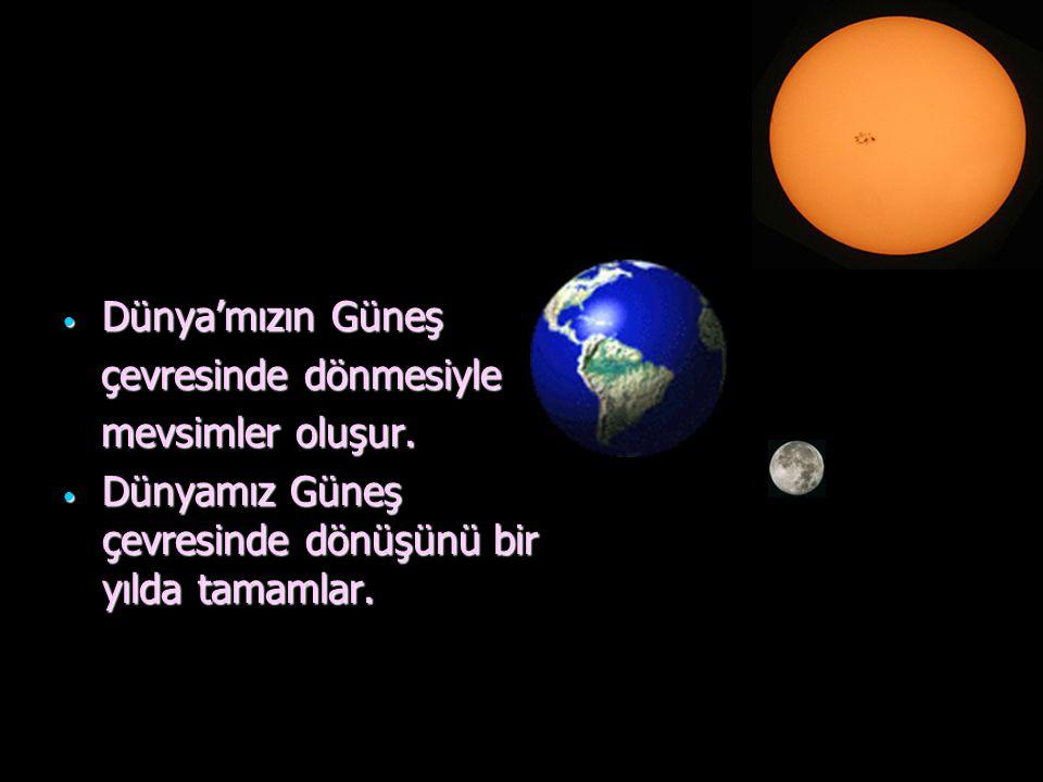Dünya'mızın Güneş çevresinde dönmesiyle mevsimler oluşur. Dünyamız Güneş çevresinde dönüşünü bir yılda tamamlar.