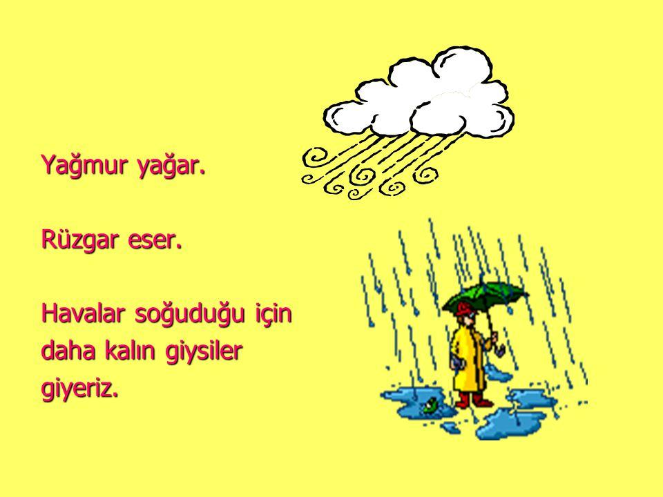 Yağmur yağar. Rüzgar eser. Havalar soğuduğu için daha kalın giysiler giyeriz.