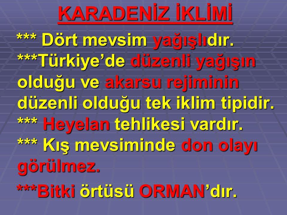 KARADENİZ İKLİMİ *** Dört mevsim yağışlıdır. ***Türkiye'de düzenli yağışın olduğu ve akarsu rejiminin düzenli olduğu tek iklim tipidir. *** Heyelan te