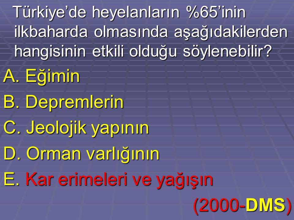 Türkiye'de heyelanların %65'inin ilkbaharda olmasında aşağıdakilerden hangisinin etkili olduğu söylenebilir? Türkiye'de heyelanların %65'inin ilkbahar