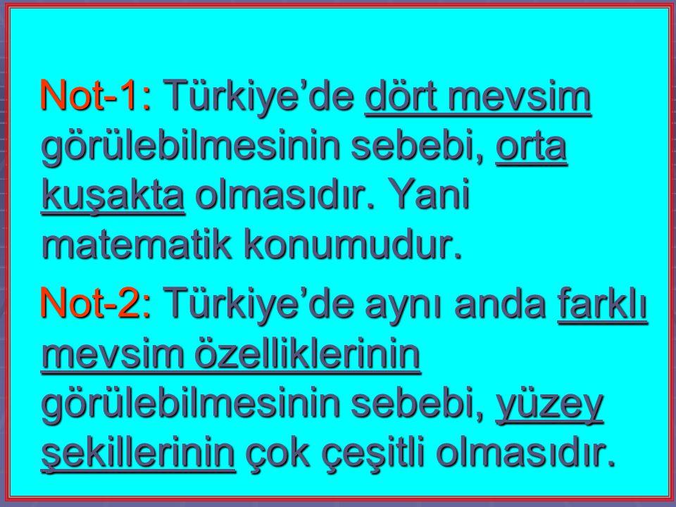 Not-1: Türkiye'de dört mevsim görülebilmesinin sebebi, orta kuşakta olmasıdır. Yani matematik konumudur. Not-1: Türkiye'de dört mevsim görülebilmesini