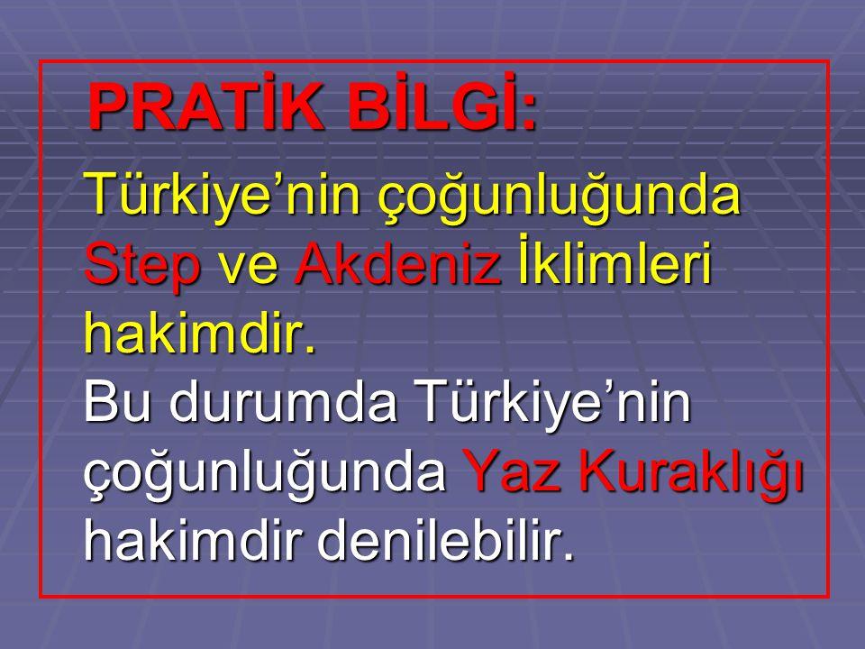 PRATİK BİLGİ: PRATİK BİLGİ: Türkiye'nin çoğunluğunda Step ve Akdeniz İklimleri hakimdir. Bu durumda Türkiye'nin çoğunluğunda Yaz Kuraklığı hakimdir de