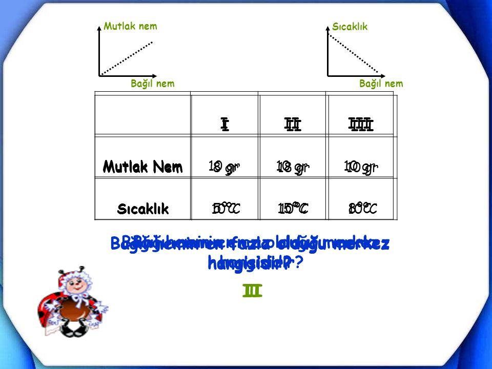 IIIIII Mutlak Nem10 gr Sıcaklık5ºC15ºC8ºC Bağıl nemin en fazla olduğu merkez hangisidir? Bağıl nemin en az olduğu merkez hangisidir? III I III Mutlak