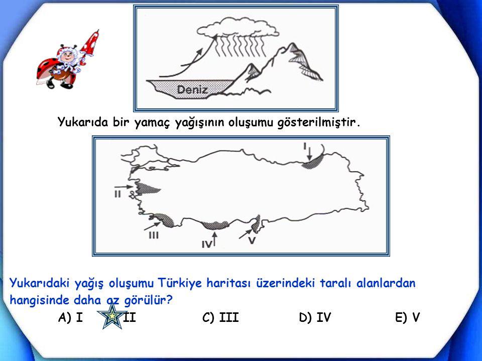 Yukarıda bir yamaç yağışının oluşumu gösterilmiştir. Yukarıdaki yağış oluşumu Türkiye haritası üzerindeki taralı alanlardan hangisinde daha az görülür