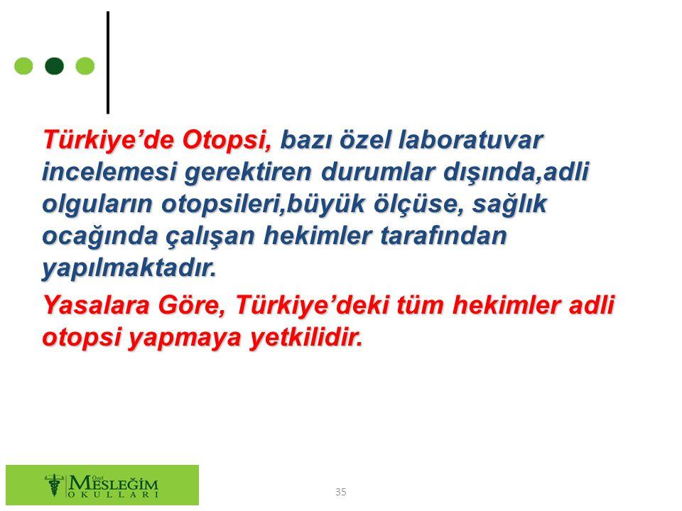 Türkiye'de Otopsi, bazı özel laboratuvar incelemesi gerektiren durumlar dışında,adli olguların otopsileri,büyük ölçüse, sağlık ocağında çalışan hekiml