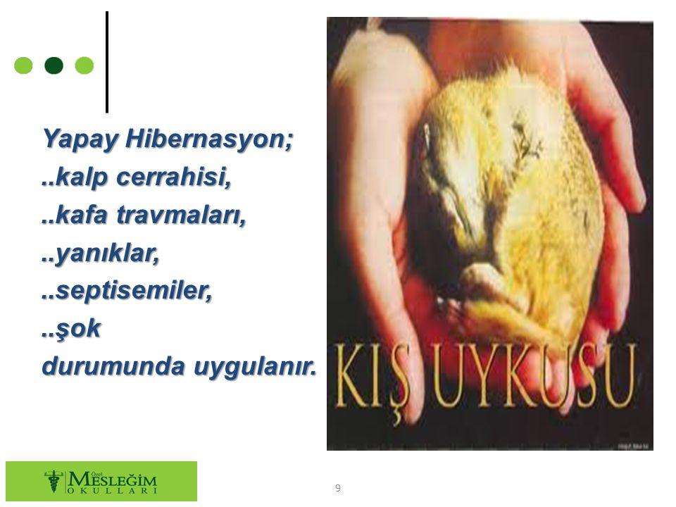 Yapay Hibernasyon;..kalp cerrahisi,..kafa travmaları,..yanıklar,..septisemiler,..şok durumunda uygulanır. 9