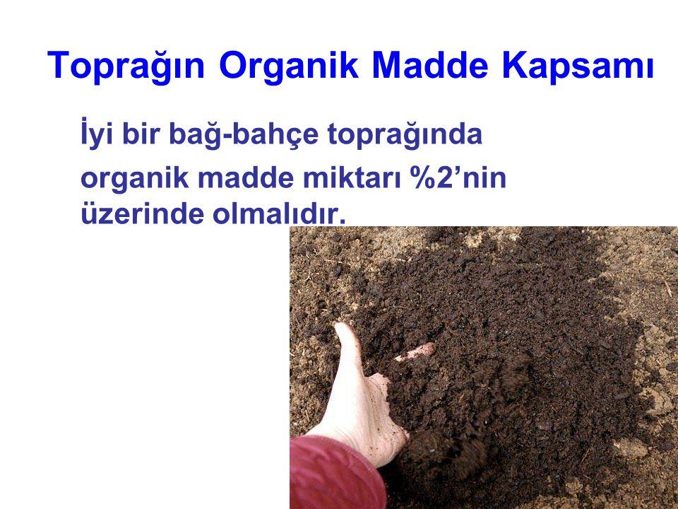 Toprağın Organik Madde Kapsamı İyi bir bağ-bahçe toprağında organik madde miktarı %2'nin üzerinde olmalıdır.