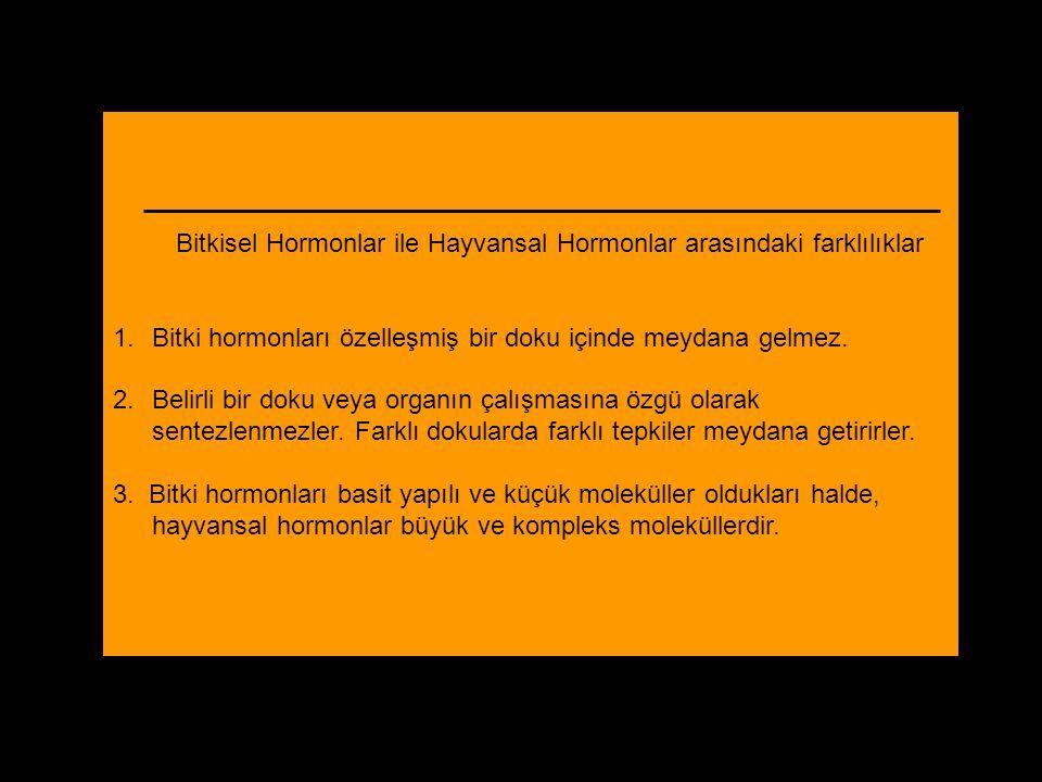 Bitkisel Hormonlar ile Hayvansal Hormonlar arasındaki farklılıklar 1.Bitki hormonları özelleşmiş bir doku içinde meydana gelmez. 2.Belirli bir doku ve