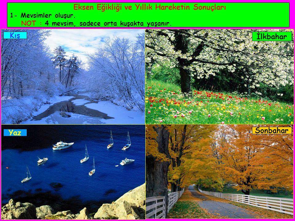 Eksen Eğikliği ve Yıllık Hareketin Sonuçları 1- Mevsimler oluşur.