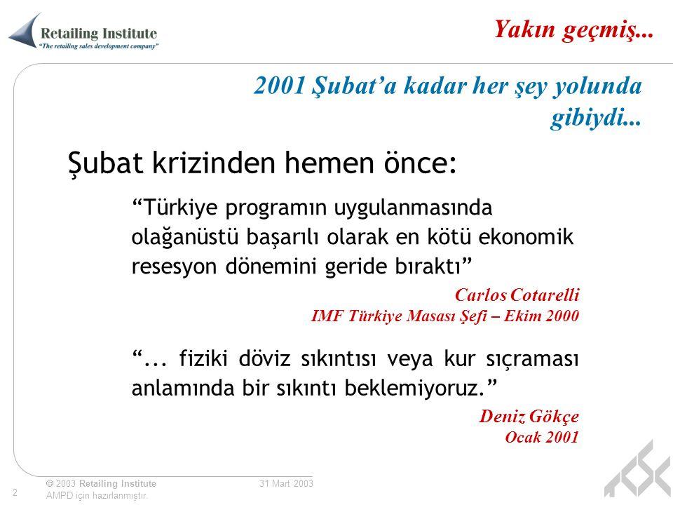 """ 2003 Retailing Institute AMPD için hazırlanmıştır. 2 31 Mart 2003 Yakın geçmiş... """"Türkiye programın uygulanmasında olağanüstü başarılı olarak en kö"""