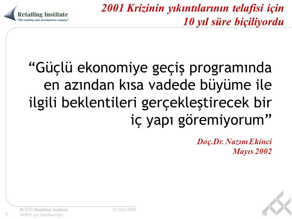 """ 2003 Retailing Institute AMPD için hazırlanmıştır. 4 31 Mart 2003 2001 Krizinin yıkıntılarının telafisi için 10 yıl süre biçiliyordu """"Güçlü ekonomiy"""