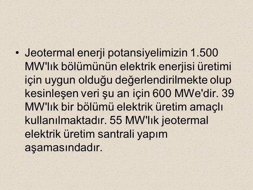 Jeotermal enerji potansiyelimizin 1.500 MW'lık bölümünün elektrik enerjisi üretimi için uygun olduğu değerlendirilmekte olup kesinleşen veri şu an içi