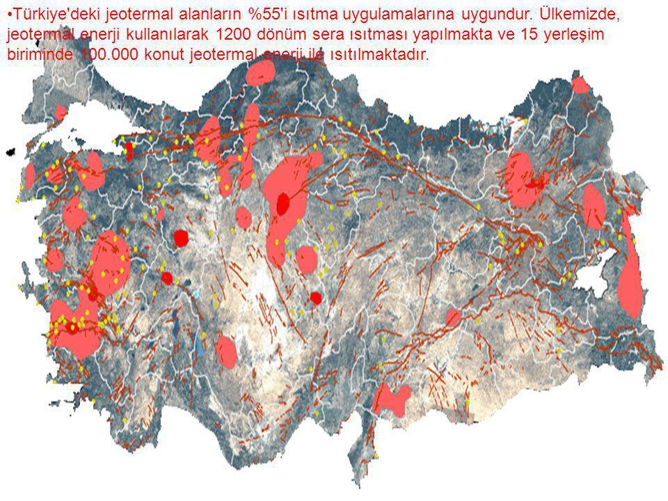 Türkiye'deki jeotermal alanların %55'i ısıtma uygulamalarına uygundur. Ülkemizde, jeotermal enerji kullanılarak 1200 dönüm sera ısıtması yapılmakta ve
