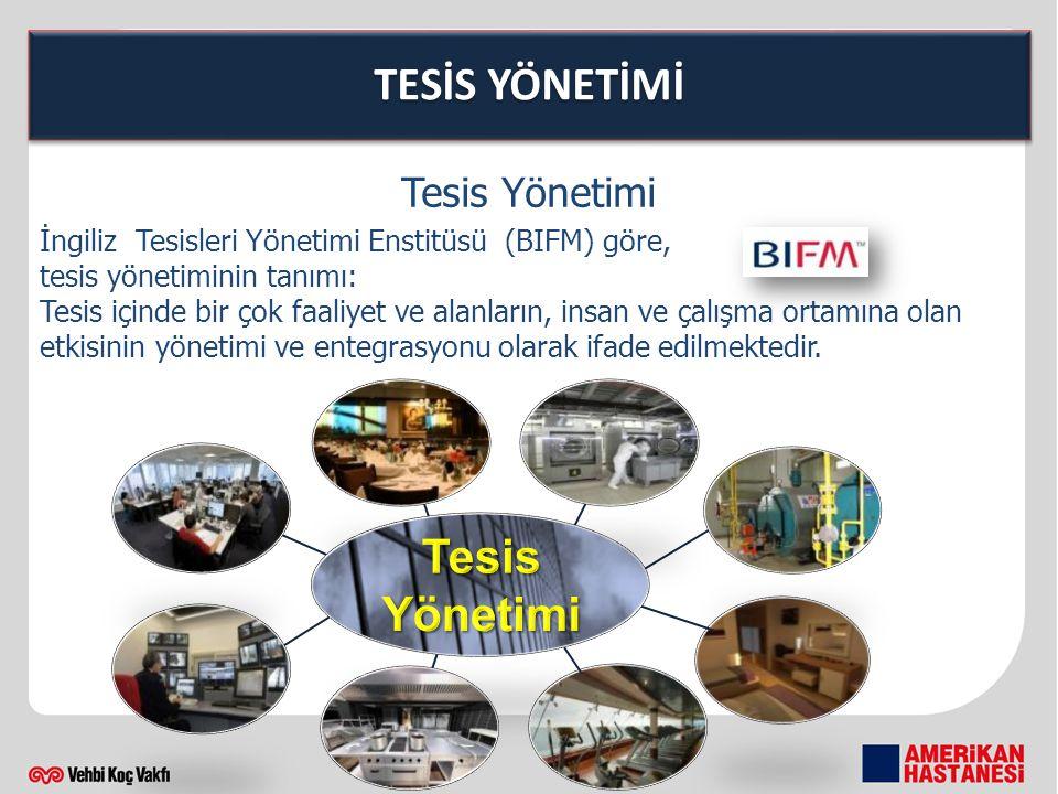 TESİS YÖNETİMİ İngiliz Tesisleri Yönetimi Enstitüsü (BIFM) göre, tesis yönetiminin tanımı: Tesis içinde bir çok faaliyet ve alanların, insan ve çalışm