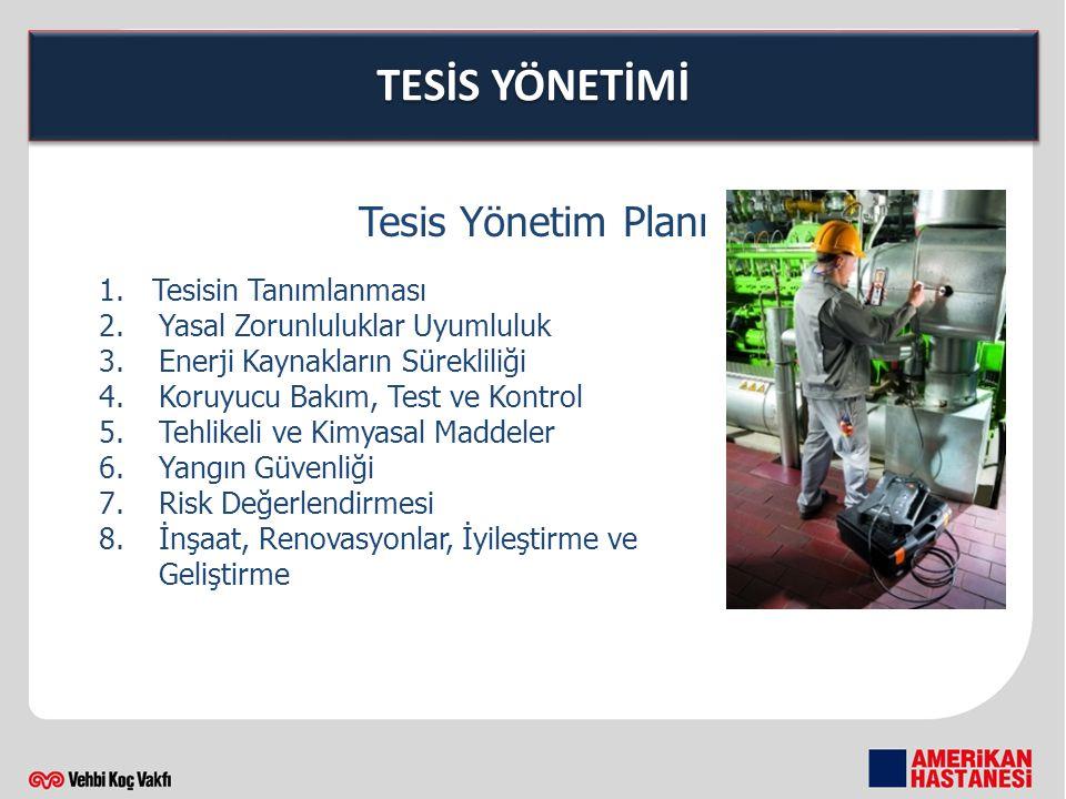 TESİS YÖNETİMİ Tesis Yönetim Planı 1.Tesisin Tanımlanması 2.Yasal Zorunluluklar Uyumluluk 3.Enerji Kaynakların Sürekliliği 4.Koruyucu Bakım, Test ve Kontrol 5.Tehlikeli ve Kimyasal Maddeler 6.Yangın Güvenliği 7.Risk Değerlendirmesi 8.İnşaat, Renovasyonlar, İyileştirme ve Geliştirme
