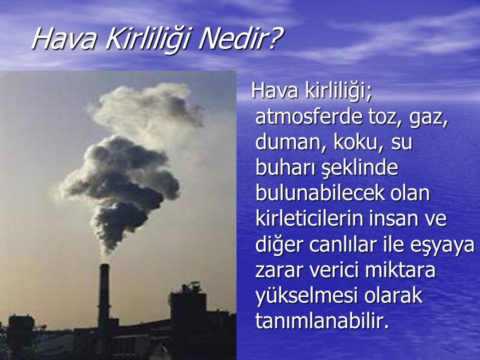 Hava Kirliliği Nedir? Hava kirliliği; atmosferde toz, gaz, duman, koku, su buharı şeklinde bulunabilecek olan kirleticilerin insan ve diğer canlılar i