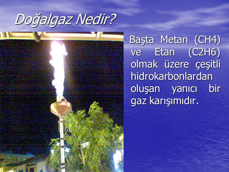 Doğalgaz Nedir? Başta Metan (CH4) ve Etan (C2H6) olmak üzere çeşitli hidrokarbonlardan oluşan yanıcı bir gaz karışımıdır. Başta Metan (CH4) ve Etan (C