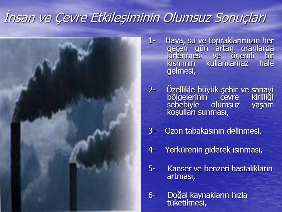 İnsan ve Çevre Etkileşiminin Olumsuz Sonuçları 1- Hava, su ve topraklarımızın her geçen gün artan oranlarda kirlenmesi ve önemli bir kısmının kullanıl