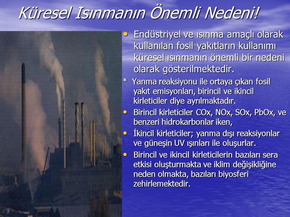Küresel Isınmanın Önemli Nedeni! Endüstriyel ve ısınma amaçlı olarak kullanılan fosil yakıtların kullanımı küresel ısınmanın önemli bir nedeni olarak