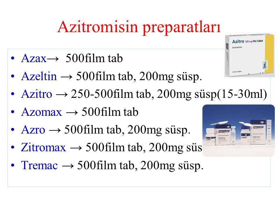 Azitromisin preparatları Azax→ 500film tab Azeltin → 500film tab, 200mg süsp.