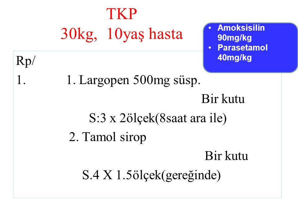 TKP 30kg, 10yaş hasta Rp/ 1.1. Largopen 500mg süsp.