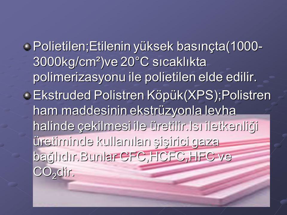 Polietilen;Etilenin yüksek basınçta(1000- 3000kg/cm²)ve 20°C sıcaklıkta polimerizasyonu ile polietilen elde edilir. Ekstruded Polistren Köpük(XPS);Pol