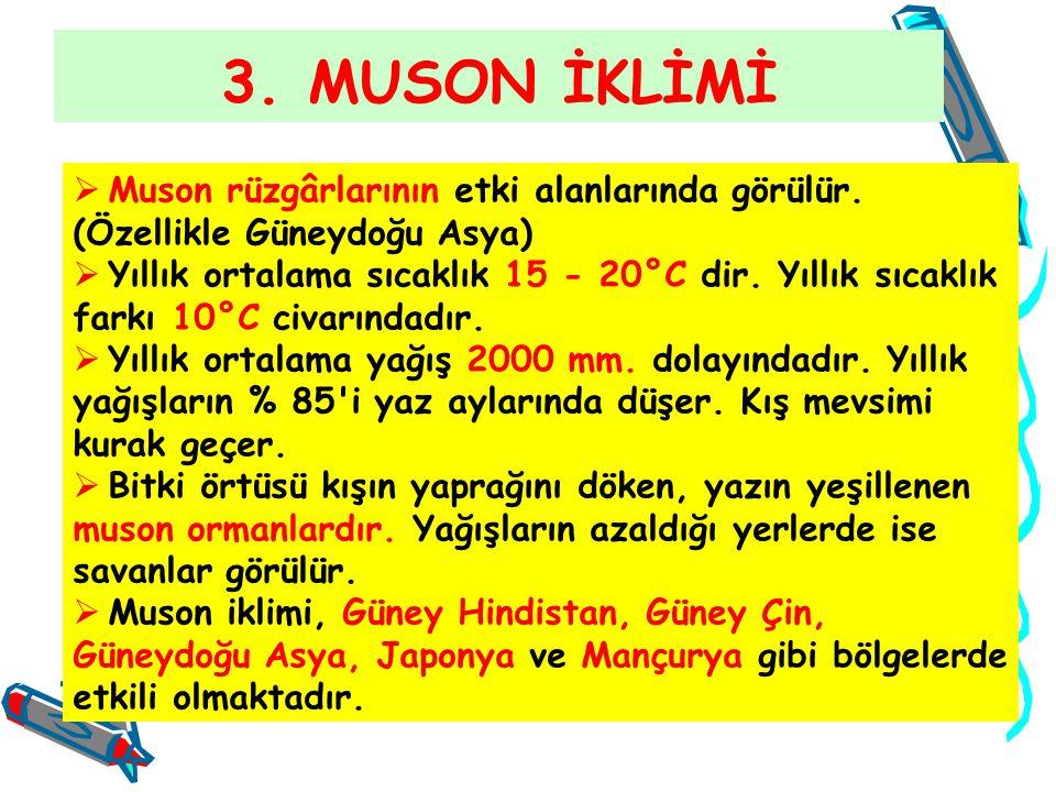 3. MUSON İKLİMİ  Muson rüzgârlarının etki alanlarında görülür. (Özellikle Güneydoğu Asya)  Yıllık ortalama sıcaklık 15 - 20°C dir. Yıllık sıcaklık f