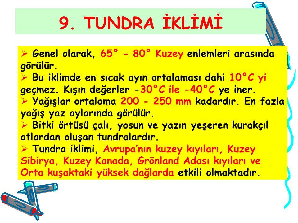 9. TUNDRA İKLİMİ  Genel olarak, 65° - 80° Kuzey enlemleri arasında görülür.  Bu iklimde en sıcak ayın ortalaması dahi 10°C yi geçmez. Kışın değerler