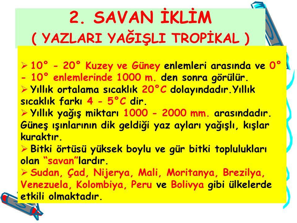 2. SAVAN İKLİM ( YAZLARI YAĞIŞLI TROPİKAL )  10° - 20° Kuzey ve Güney enlemleri arasında ve 0° - 10° enlemlerinde 1000 m. den sonra görülür.  Yıllık