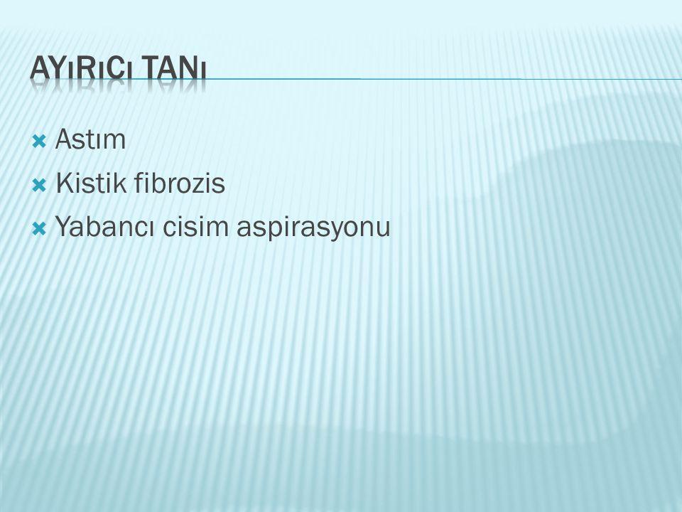  Astım  Kistik fibrozis  Yabancı cisim aspirasyonu