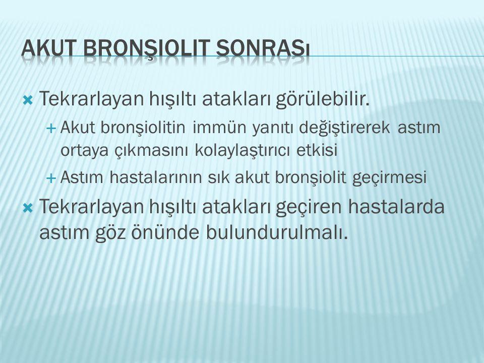  Tekrarlayan hışıltı atakları görülebilir.  Akut bronşiolitin immün yanıtı değiştirerek astım ortaya çıkmasını kolaylaştırıcı etkisi  Astım hastala
