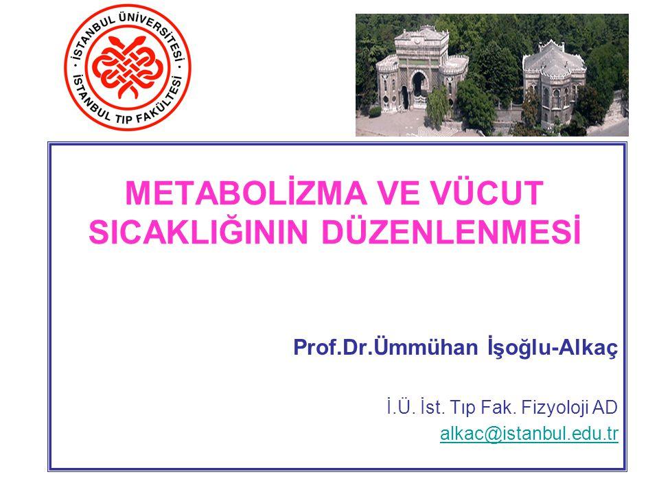 Metabolizma; Vücudun tüm hücrelerindeki kimyasal reaksiyonlardır Metabolizma Hızı ; kimyasal reaksiyonlarda ısının serbestlenme hızıdır.
