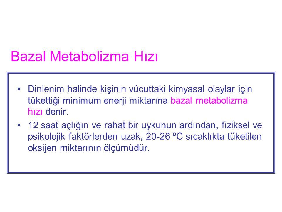 Bazal Metabolizma Hızı Dinlenim halinde kişinin vücuttaki kimyasal olaylar için tükettiği minimum enerji miktarına bazal metabolizma hızı denir. 12 sa
