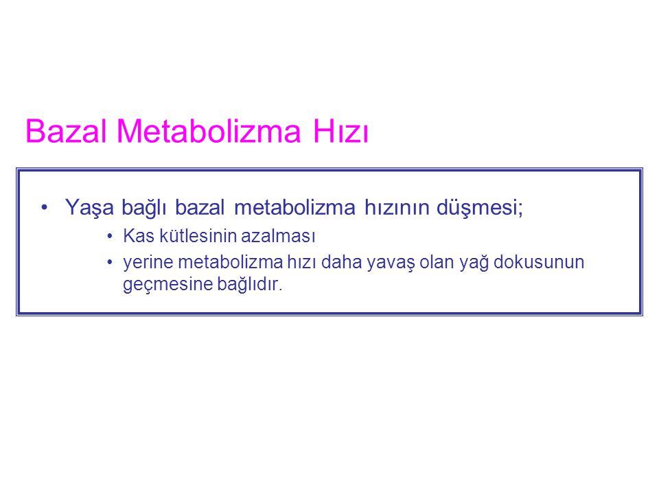 Bazal Metabolizma Hızını artıran faktörler Tiroid hormonu Erkekte cinsiyet hormonu Büyüme hormonu Ateş (10 ºC lik artış BMHnı %120 artırır) –Uyku ve malnütrisyon BMHnı azaltır.