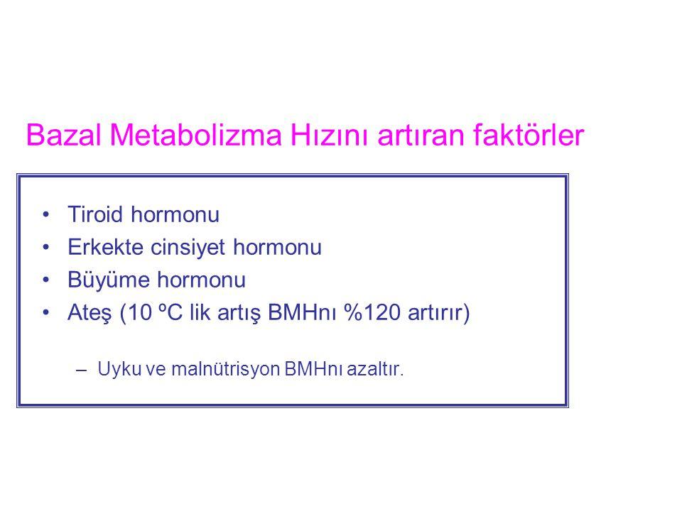 Bazal Metabolizma Hızını artıran faktörler Tiroid hormonu Erkekte cinsiyet hormonu Büyüme hormonu Ateş (10 ºC lik artış BMHnı %120 artırır) –Uyku ve m