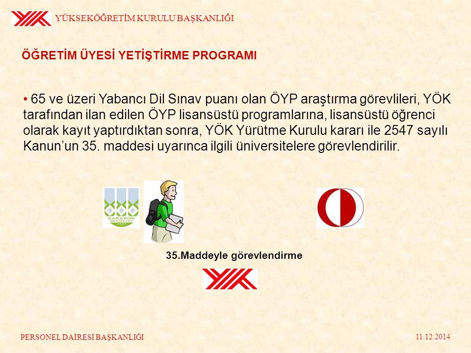 ÖĞRETİM ÜYESİ YETİŞTİRME PROGRAMI 65 ve üzeri Yabancı Dil Sınav puanı olan ÖYP araştırma görevlileri, YÖK tarafından ilan edilen ÖYP lisansüstü programlarına, lisansüstü öğrenci olarak kayıt yaptırdıktan sonra, YÖK Yürütme Kurulu kararı ile 2547 sayılı Kanun'un 35.