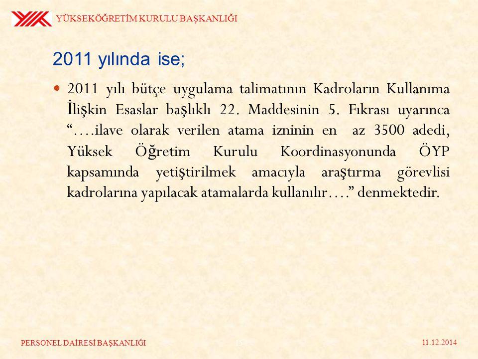 2011 yılında ise; 2011 yılı bütçe uygulama talimatının Kadroların Kullanıma İ li ş kin Esaslar ba ş lıklı 22.
