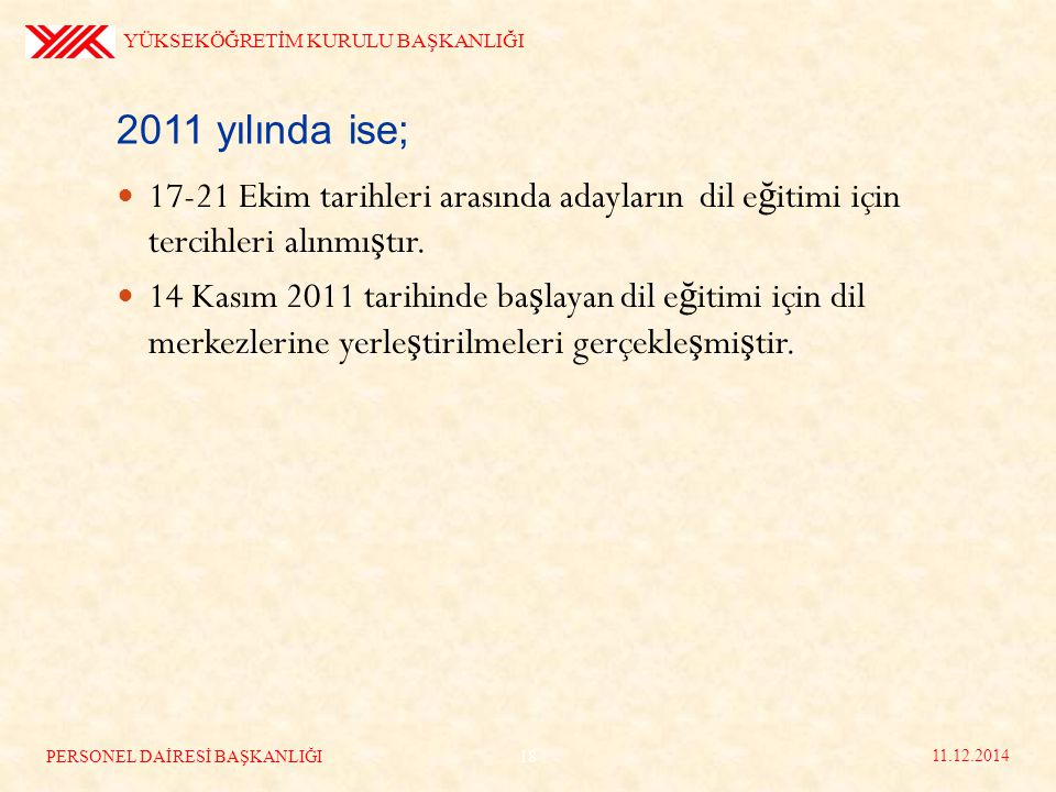 2011 yılında ise; 17-21 Ekim tarihleri arasında adayların dil e ğ itimi için tercihleri alınmı ş tır.