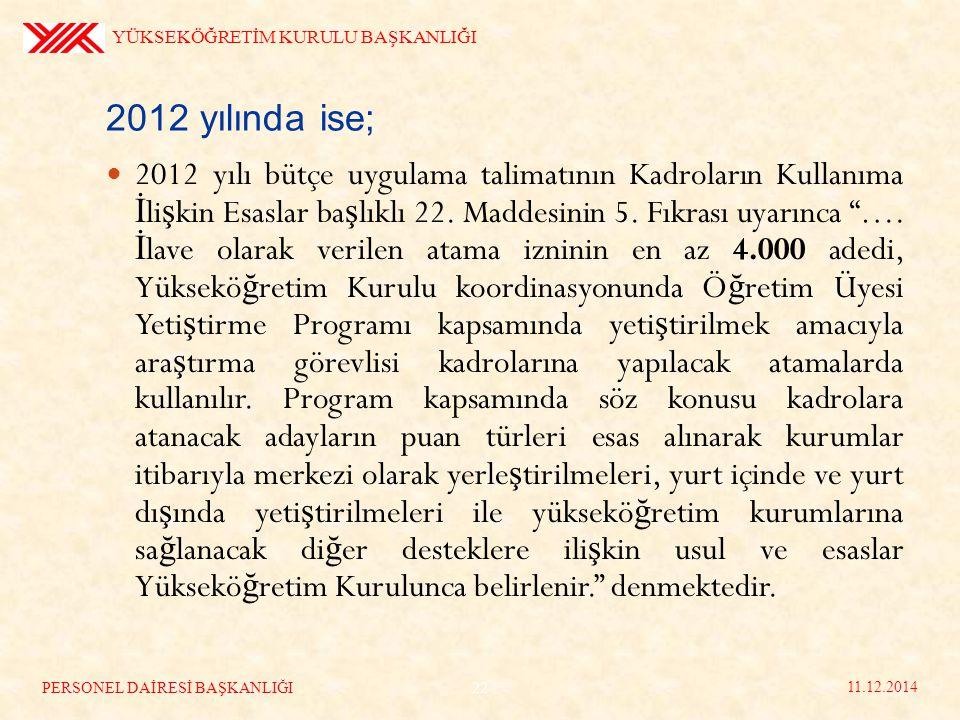 2012 yılında ise; 2012 yılı bütçe uygulama talimatının Kadroların Kullanıma İ li ş kin Esaslar ba ş lıklı 22.