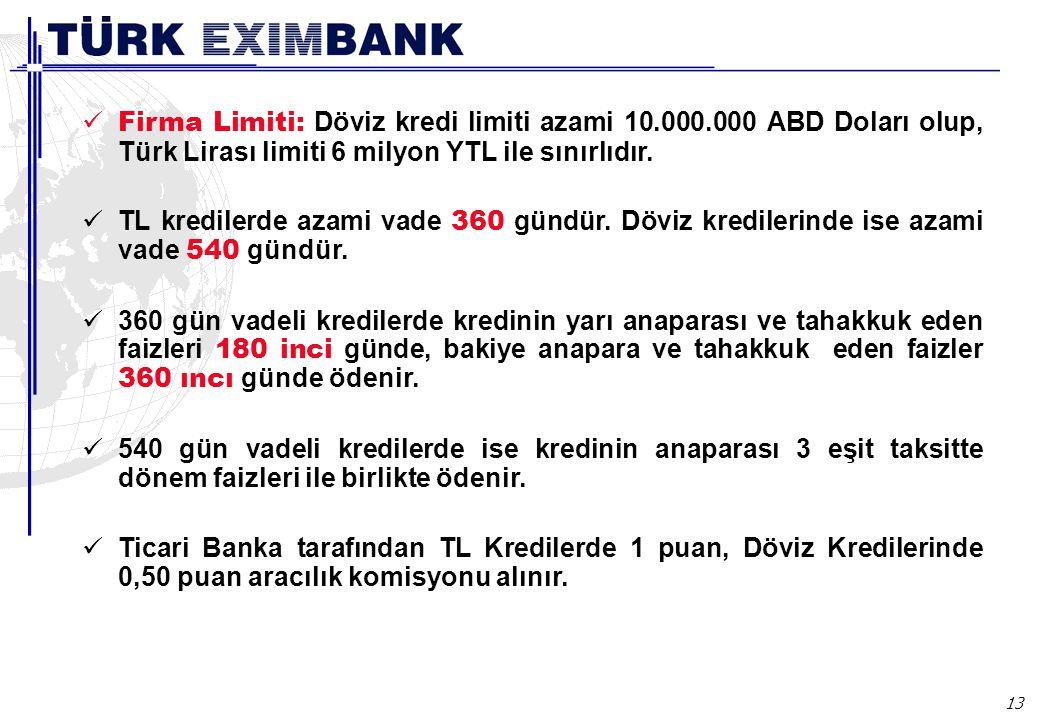 13 Firma Limiti: Döviz kredi limiti azami 10.000.000 ABD Doları olup, Türk Lirası limiti 6 milyon YTL ile sınırlıdır. TL kredilerde azami vade 360 gün