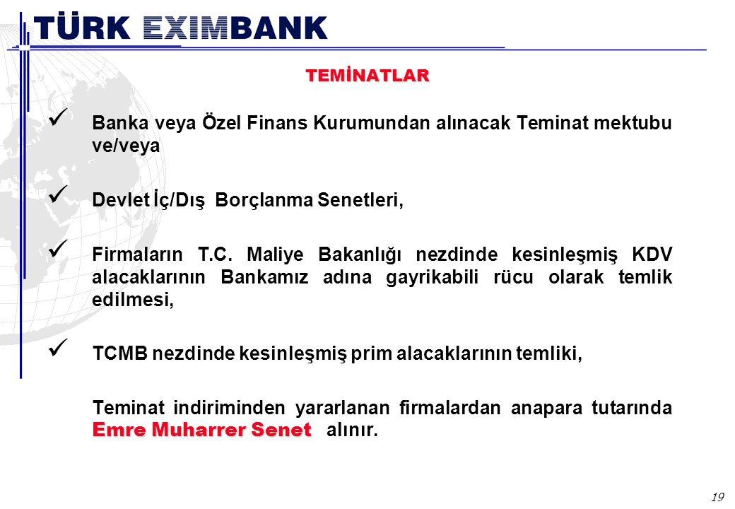 19 TEMİNATLAR Banka veya Özel Finans Kurumundan alınacak Teminat mektubu ve/veya Devlet İç/Dış Borçlanma Senetleri, Firmaların T.C.