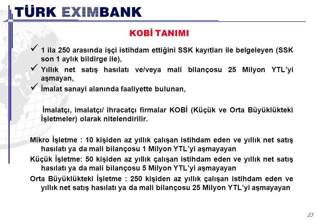 23 KOBİ TANIMI 1 ila 250 arasında işçi istihdam ettiğini SSK kayıtları ile belgeleyen (SSK son 1 aylık bildirge ile), Yıllık net satış hasılatı ve/vey