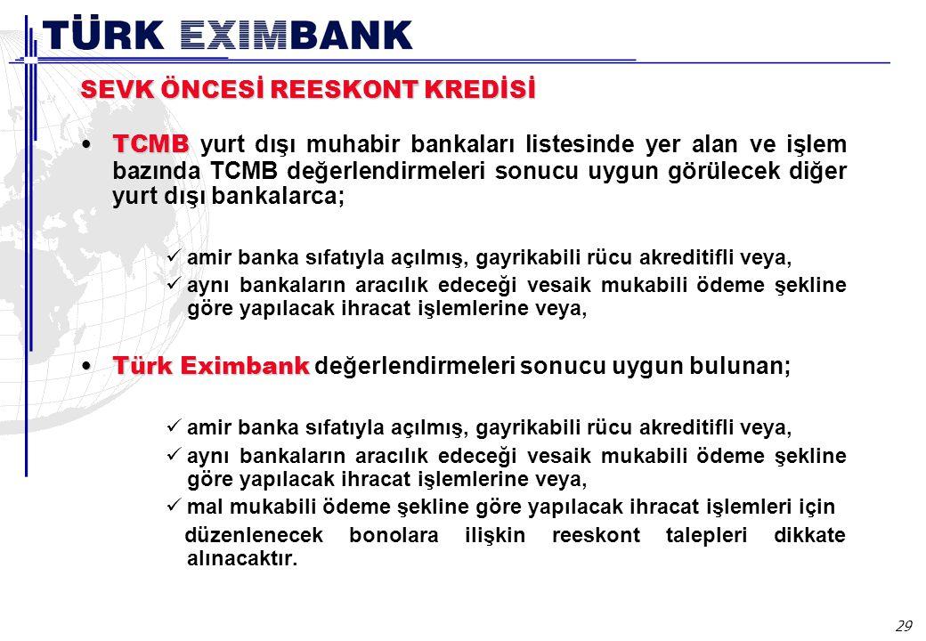 29 SEVK ÖNCESİ REESKONT KREDİSİ TCMBTCMB yurt dışı muhabir bankaları listesinde yer alan ve işlem bazında TCMB değerlendirmeleri sonucu uygun görülecek diğer yurt dışı bankalarca; amir banka sıfatıyla açılmış, gayrikabili rücu akreditifli veya, aynı bankaların aracılık edeceği vesaik mukabili ödeme şekline göre yapılacak ihracat işlemlerine veya, Türk EximbankTürk Eximbank değerlendirmeleri sonucu uygun bulunan; amir banka sıfatıyla açılmış, gayrikabili rücu akreditifli veya, aynı bankaların aracılık edeceği vesaik mukabili ödeme şekline göre yapılacak ihracat işlemlerine veya, mal mukabili ödeme şekline göre yapılacak ihracat işlemleri için düzenlenecek bonolara ilişkin reeskont talepleri dikkate alınacaktır.