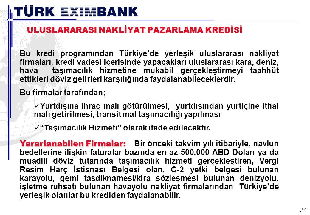 37 ULUSLARARASI NAKLİYAT PAZARLAMA KREDİSİ Bu kredi programından Türkiye'de yerleşik uluslararası nakliyat firmaları, kredi vadesi içerisinde yapacakları uluslararası kara, deniz, hava taşımacılık hizmetine mukabil gerçekleştirmeyi taahhüt ettikleri döviz gelirleri karşılığında faydalanabileceklerdir.