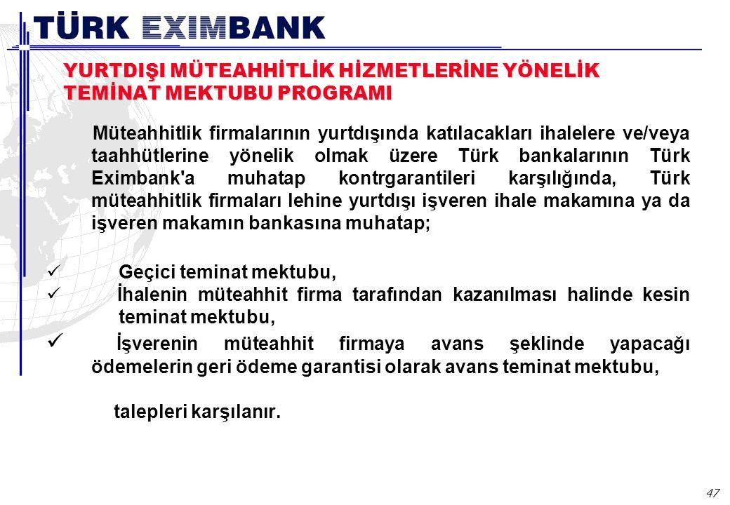 47 YURTDIŞI MÜTEAHHİTLİK HİZMETLERİNE YÖNELİK TEMİNAT MEKTUBU PROGRAMI Müteahhitlik firmalarının yurtdışında katılacakları ihalelere ve/veya taahhütlerine yönelik olmak üzere Türk bankalarının Türk Eximbank a muhatap kontrgarantileri karşılığında, Türk müteahhitlik firmaları lehine yurtdışı işveren ihale makamına ya da işveren makamın bankasına muhatap; Geçici teminat mektubu, İhalenin müteahhit firma tarafından kazanılması halinde kesin teminat mektubu, İşverenin müteahhit firmaya avans şeklinde yapacağı ödemelerin geri ödeme garantisi olarak avans teminat mektubu, talepleri karşılanır.