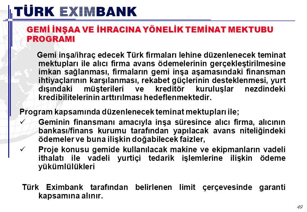 49 GEMİ İNŞAA VE İHRACINA YÖNELİK TEMİNAT MEKTUBU PROGRAMI Gemi inşa/ihraç edecek Türk firmaları lehine düzenlenecek teminat mektupları ile alıcı firm